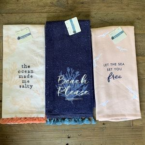 Kitchen Hand towels - set of three ~ beach theme~